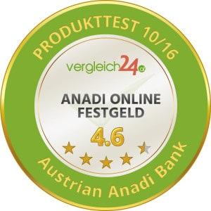 Austria Anadi Bank Festgeld Testsiegel